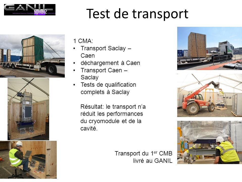 Test de transport 1 CMA: Transport Saclay – Caen déchargement à Caen Transport Caen – Saclay Tests de qualification complets à Saclay Résultat: le tra