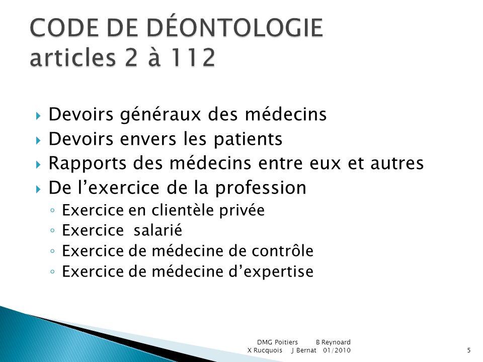 Devoirs généraux des médecins Devoirs envers les patients Rapports des médecins entre eux et autres De lexercice de la profession Exercice en clientèl