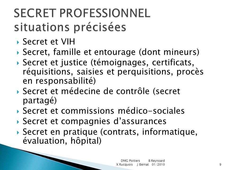 Secret et VIH Secret, famille et entourage (dont mineurs) Secret et justice (témoignages, certificats, réquisitions, saisies et perquisitions, procès
