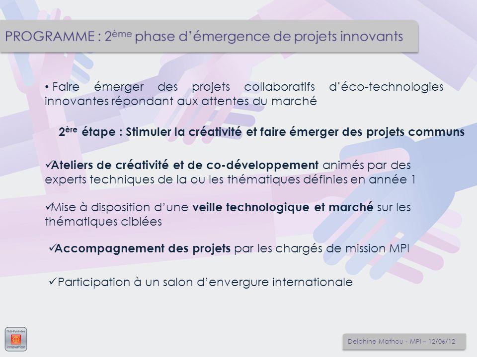 Faire émerger des projets collaboratifs déco-technologies innovantes répondant aux attentes du marché Accompagnement des projets par les chargés de mi