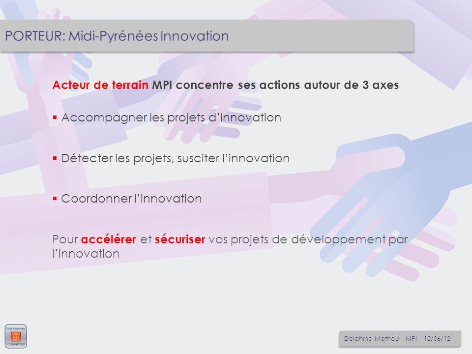 Acteur de terrain MPI concentre ses actions autour de 3 axes Accompagner les projets dinnovation Détecter les projets, susciter linnovation Coordonner