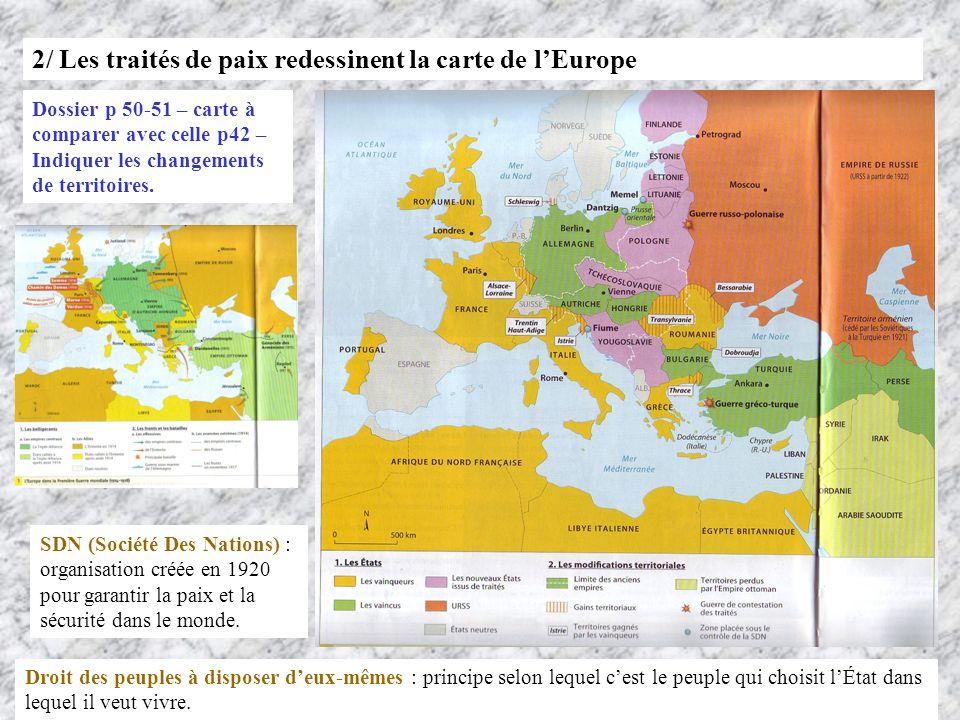 2/ Les traités de paix redessinent la carte de lEurope Dossier p 50-51 – carte à comparer avec celle p42 – Indiquer les changements de territoires. SD