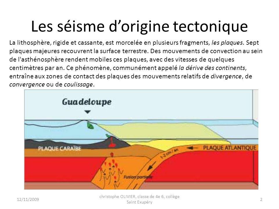 Les séismes dorigines volcanique Le volcanisme représente, avec les séismes, l une des manifestations de la tectonique des plaques.