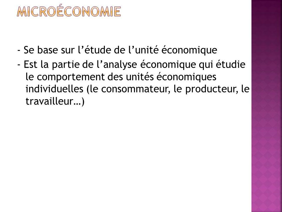 - Se base sur létude de lunité économique - Est la partie de lanalyse économique qui étudie le comportement des unités économiques individuelles (le consommateur, le producteur, le travailleur…)