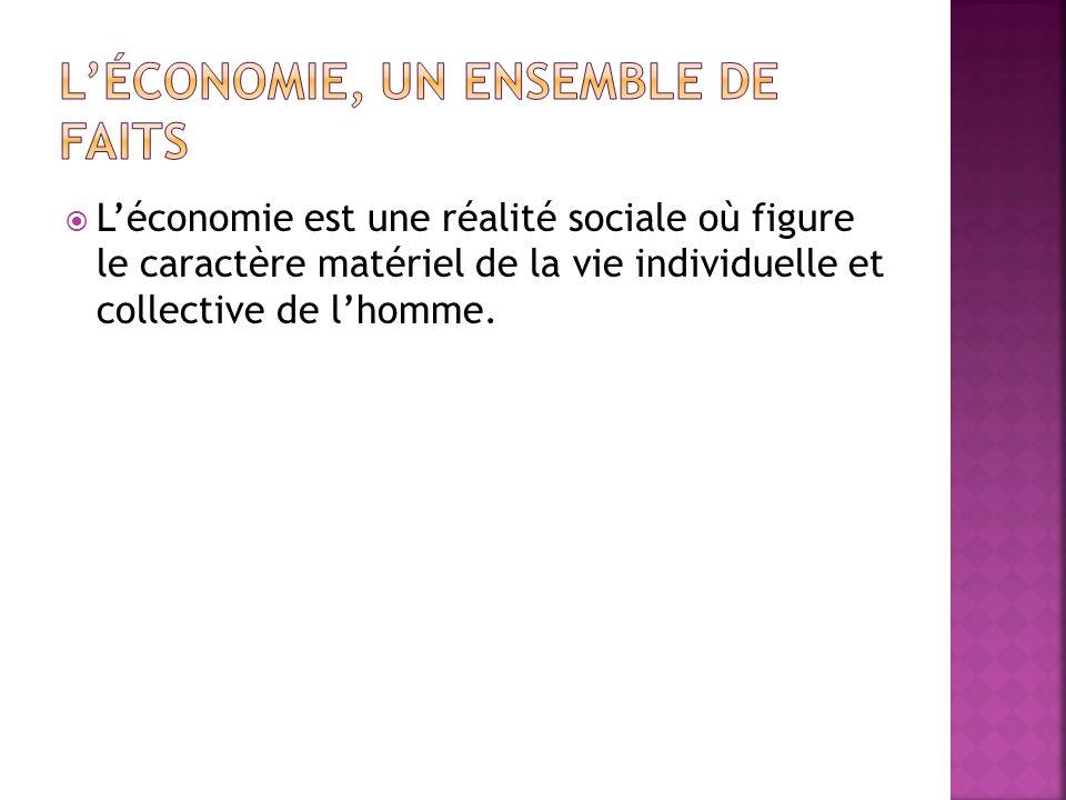 Léconomie est une réalité sociale où figure le caractère matériel de la vie individuelle et collective de lhomme.