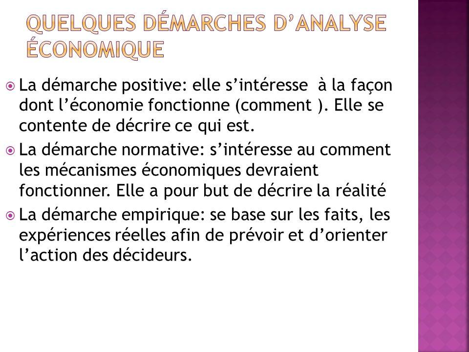 La démarche positive: elle sintéresse à la façon dont léconomie fonctionne (comment ). Elle se contente de décrire ce qui est. La démarche normative: