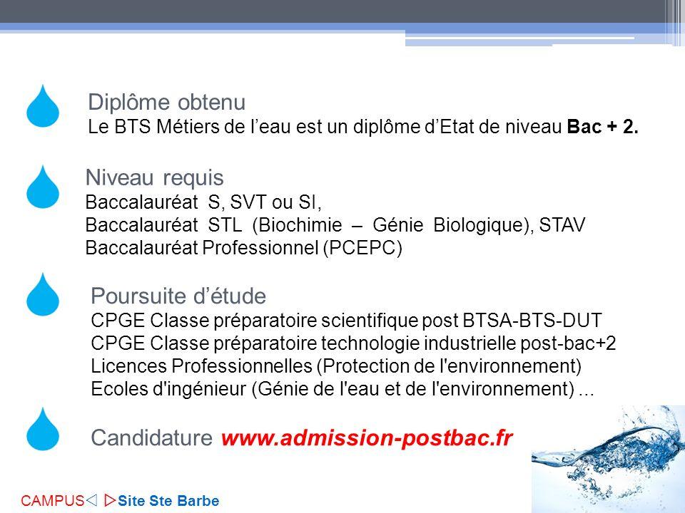 Niveau requis Baccalauréat S, SVT ou SI, Baccalauréat STL (Biochimie – Génie Biologique), STAV Baccalauréat Professionnel (PCEPC) Diplôme obtenu Le BT