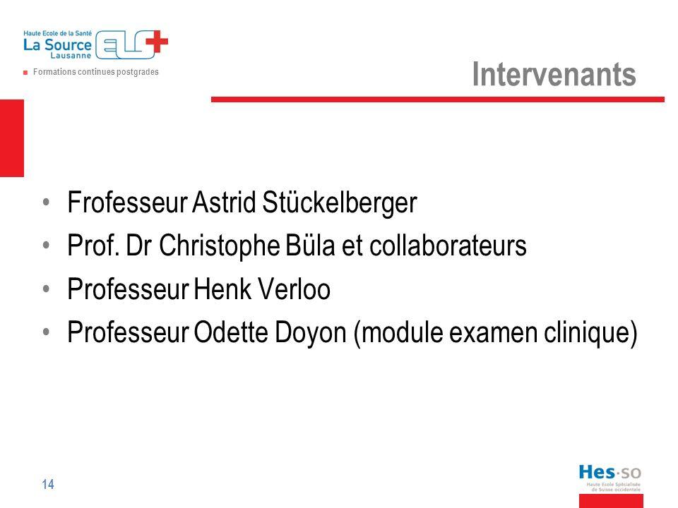Formations continues postgrades Intervenants Frofesseur Astrid Stückelberger Prof.