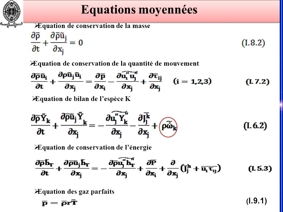 Equations moyennées Equation de conservation de la masse Equation de conservation de la quantité de mouvement Equation de conservation de lénergie Equ