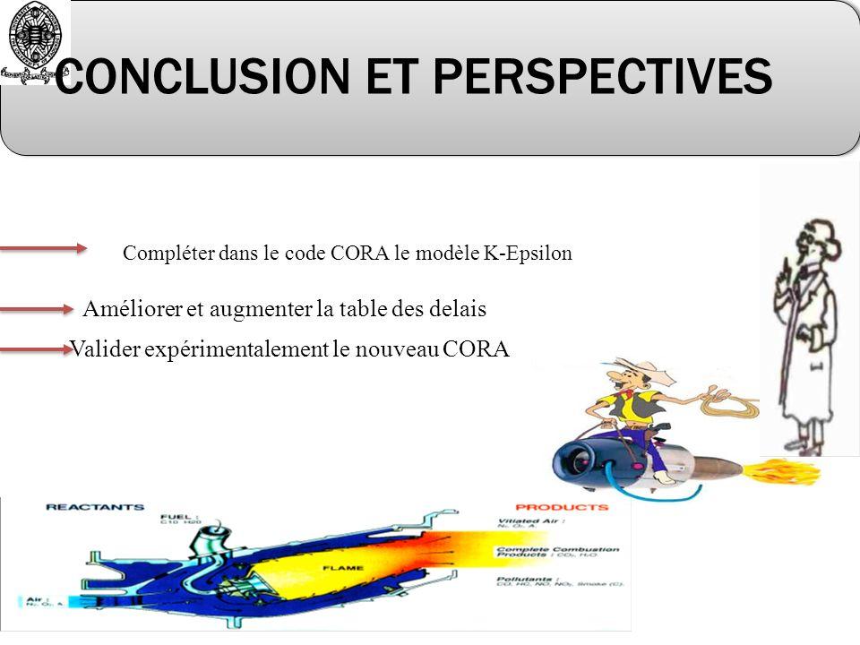Valider expérimentalement le nouveau CORA Compléter dans le code CORA le modèle K-Epsilon CONCLUSION ET PERSPECTIVES Améliorer et augmenter la table des delais