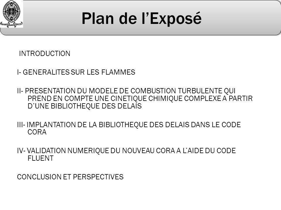 Plan de lExposé INTRODUCTION I- GENERALITES SUR LES FLAMMES II- PRESENTATION DU MODELE DE COMBUSTION TURBULENTE QUI PREND EN COMPTE UNE CINETIQUE CHIM