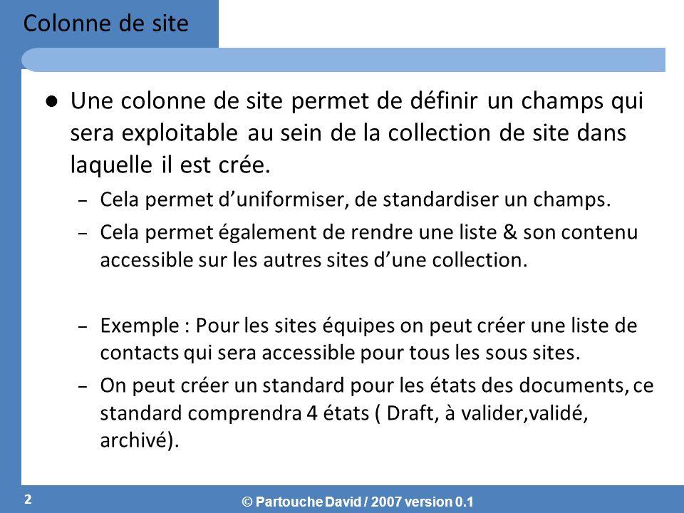 © Partouche David / 2007 version 0.1 Colonne de site Une colonne de site permet de définir un champs qui sera exploitable au sein de la collection de site dans laquelle il est crée.