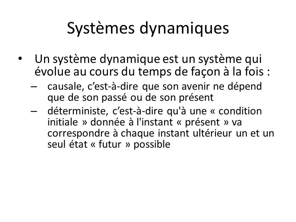 Systèmes dynamiques Un système dynamique est un système qui évolue au cours du temps de façon à la fois : – causale, cest-à-dire que son avenir ne dép