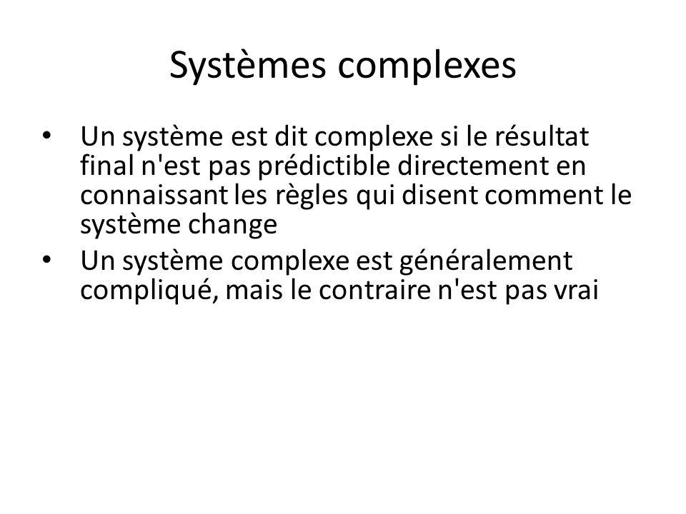 Systèmes complexes Un système est dit complexe si le résultat final n'est pas prédictible directement en connaissant les règles qui disent comment le