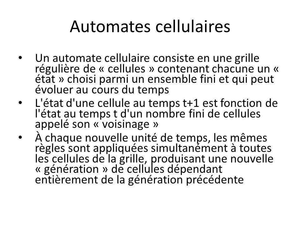 Automates cellulaires Un automate cellulaire consiste en une grille régulière de « cellules » contenant chacune un « état » choisi parmi un ensemble f