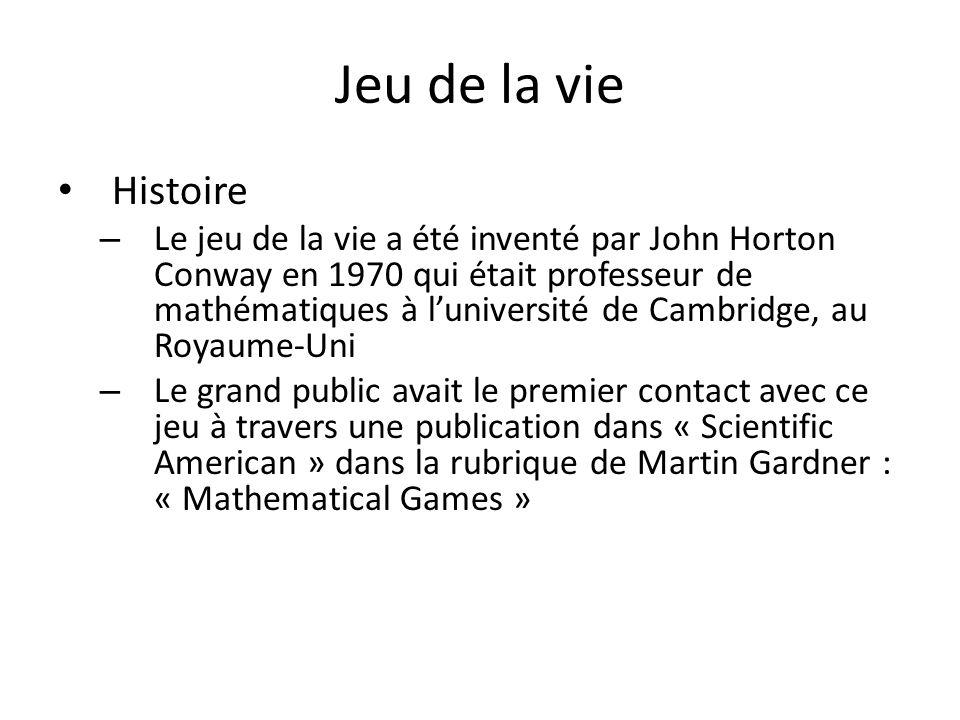 Jeu de la vie Histoire – Le jeu de la vie a été inventé par John Horton Conway en 1970 qui était professeur de mathématiques à luniversité de Cambridg