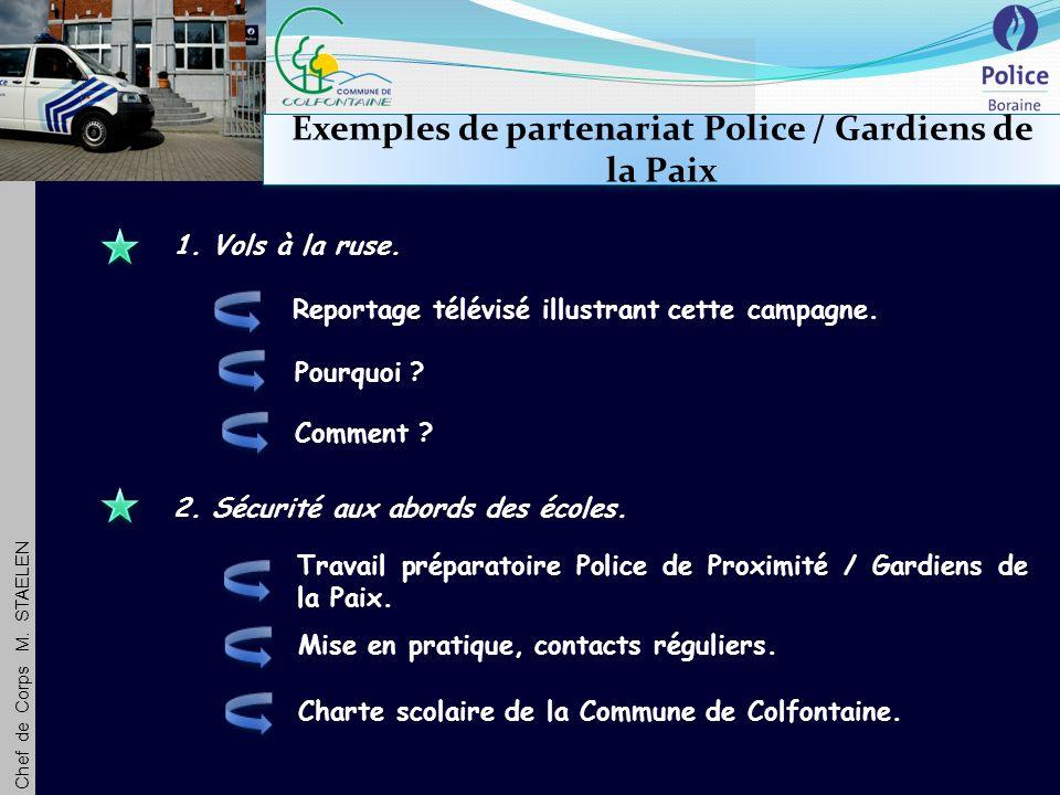 Chef de Corps M. STAELEN Exemples de partenariat Police / Gardiens de la Paix 1.