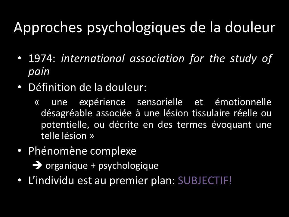 Souffrance Approche psychologique de la douleur – Quels modèle psychologique de la douleur.