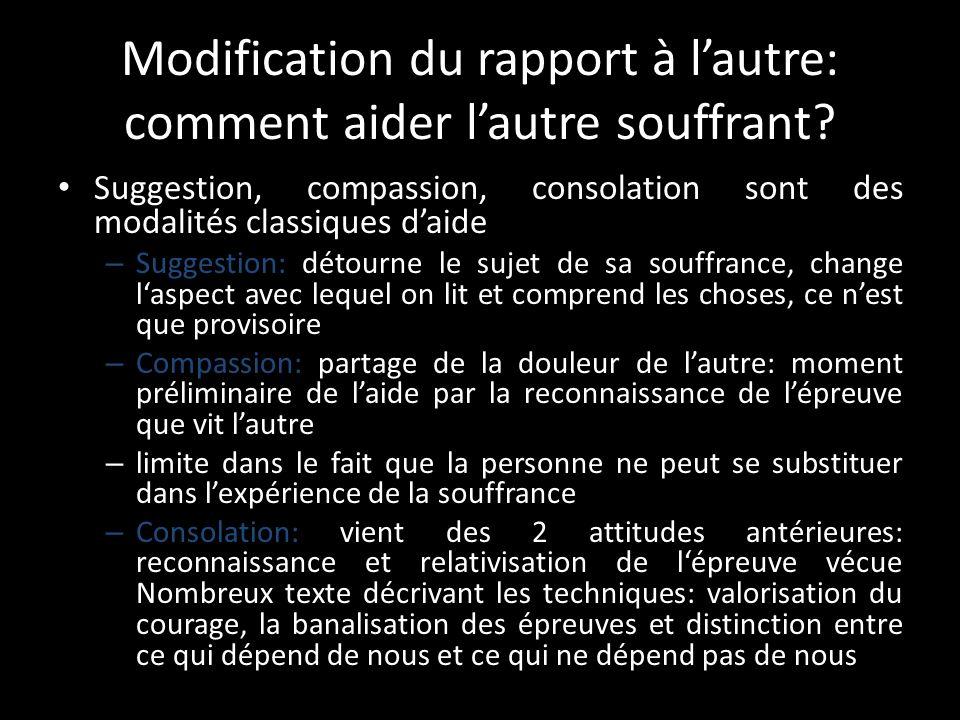 Modification du rapport à lautre: comment aider lautre souffrant.