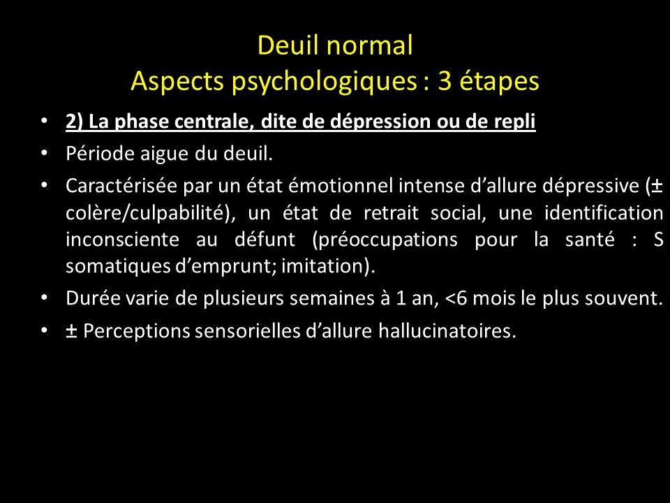 Deuil normal Aspects psychologiques : 3 étapes 1) La phase initiale, phase dimpact ou dhébétude Caractérisée par létat de choc Stupéfaction, incrédulité qui traduit le déni défensif, état de torpeur dans lequel lendeuillé continue à vivre et à agir mais de façon automatique.