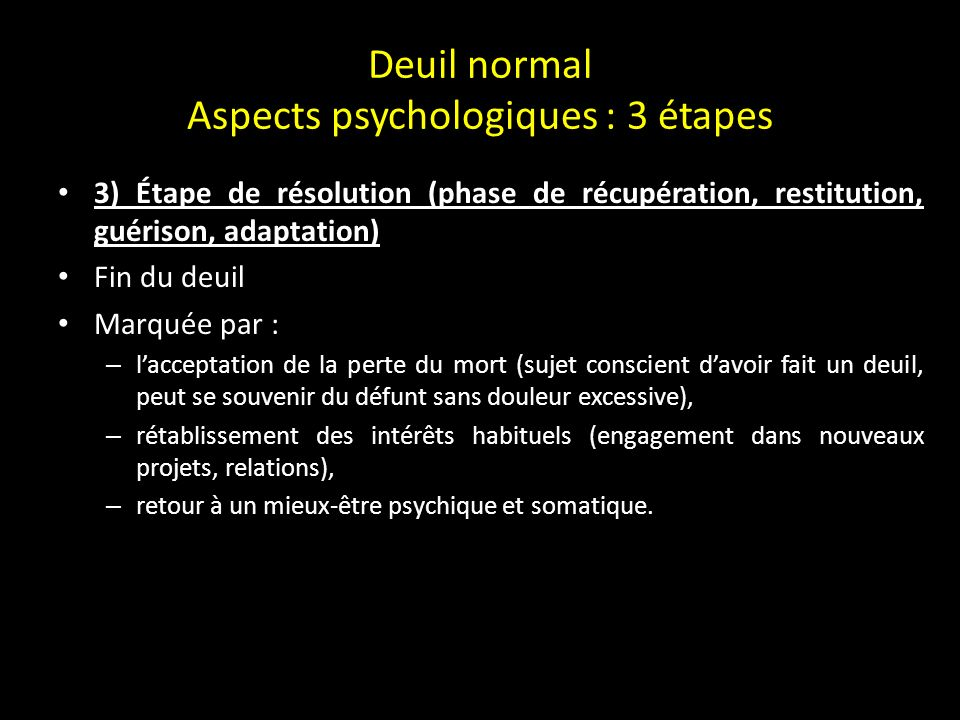 Deuil normal Aspects psychologiques : 3 étapes 2) La phase centrale, dite de dépression ou de repli Période aigue du deuil.