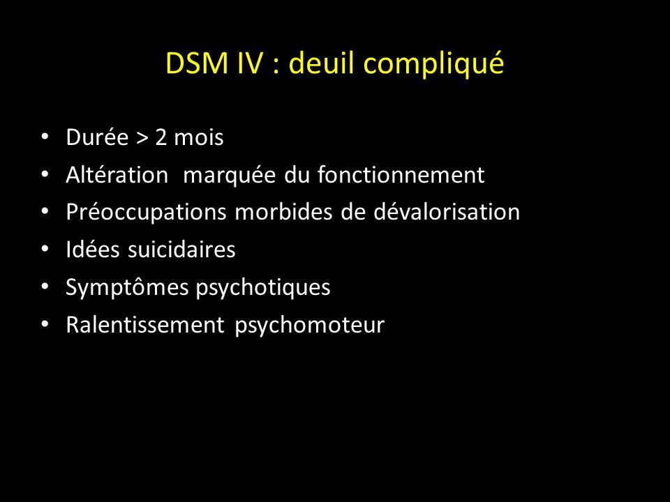 Deuil compliqué Deuil intensifié sujet débordé par lintensité des manifestations de son deuil Deuil inachevé -Deuil prolongé : la phase centrale persiste au-delà de la période habituelle du 6e-12e mois.