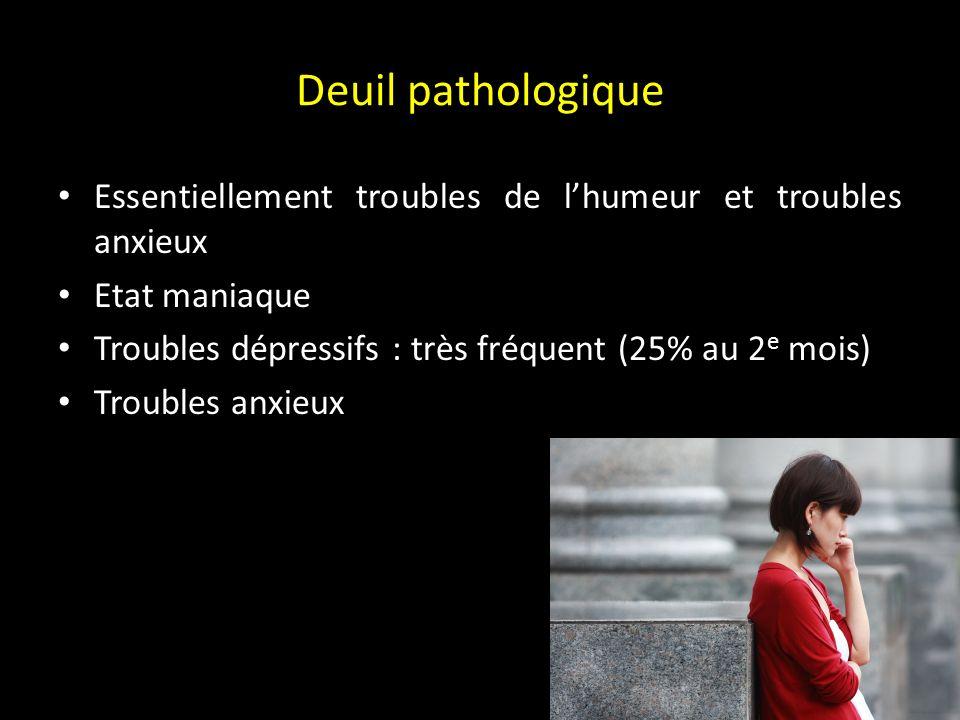 DSM IV : deuil compliqué Durée > 2 mois Altération marquée du fonctionnement Préoccupations morbides de dévalorisation Idées suicidaires Symptômes psychotiques Ralentissement psychomoteur