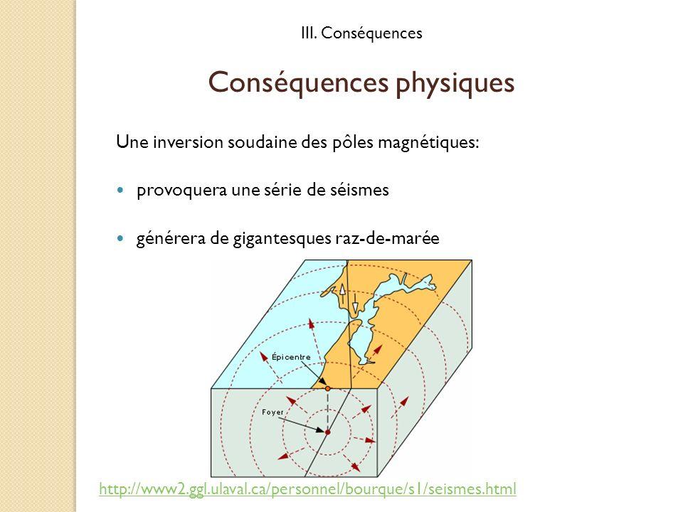 Conséquences physiques Une inversion soudaine des pôles magnétiques: provoquera une série de séismes générera de gigantesques raz-de-marée III. Conséq
