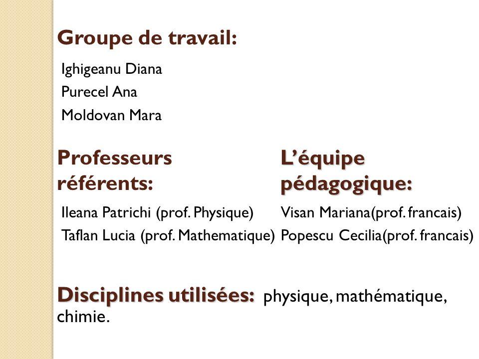 Groupe de travail: Ighigeanu Diana Purecel Ana Moldovan Mara Visan Mariana(prof. francais) Popescu Cecilia(prof. francais) Disciplines utilisées: Disc