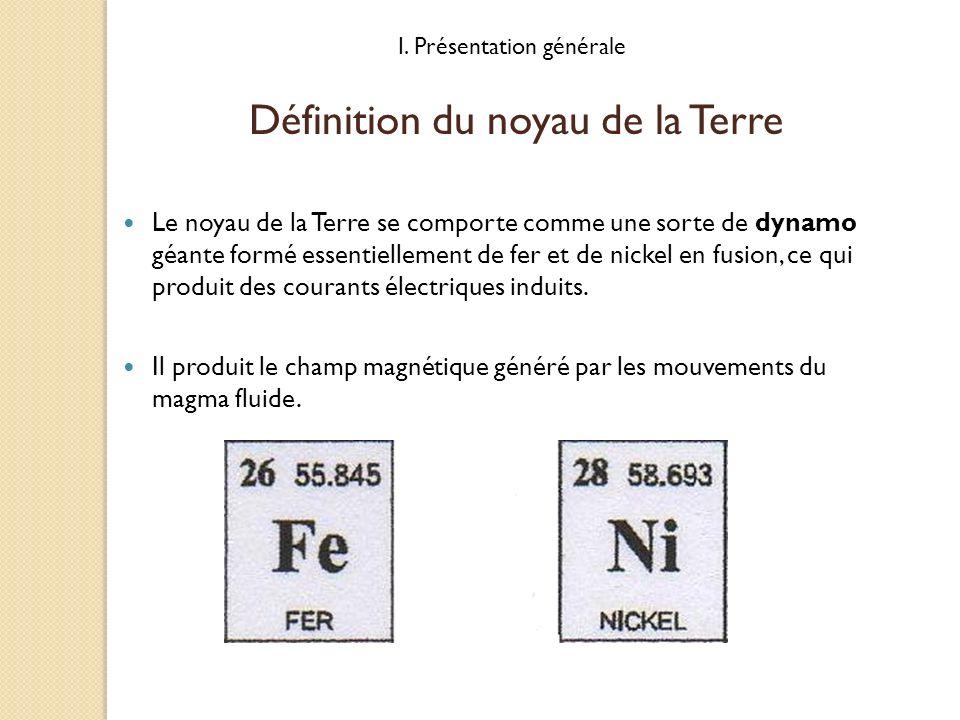 I. Présentation générale Le noyau de la Terre se comporte comme une sorte de dynamo géante formé essentiellement de fer et de nickel en fusion, ce qui