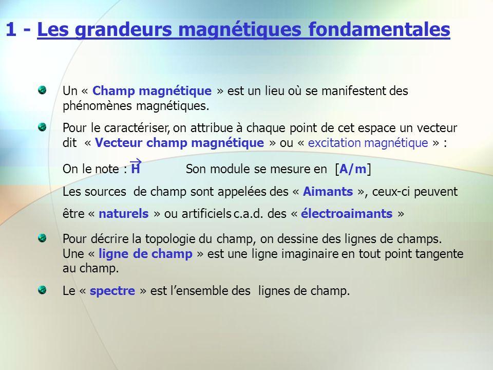 1 - Les grandeurs magnétiques fondamentales Un « Champ magnétique » est un lieu où se manifestent des phénomènes magnétiques. Pour le caractériser, on