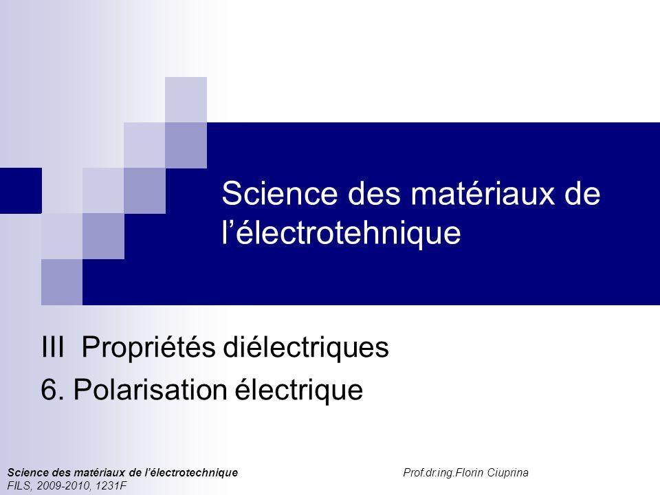 Science des matériaux de lélectrotechnique, FILS, 1231 F Polarisation électrique Structure du cours ChapitreContenu I Propriétés générales des cristaux 1Corps cristallins Etats des corps Réseaux cristallins Défauts des réseaux cristallins 2Electrons dans les cristaux Modèles (classique si quantiques) de lélectron.