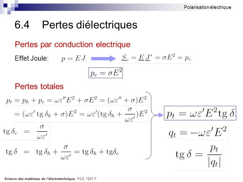 Science des matériaux de lélectrotechnique, FILS, 1231 F Polarisation électrique 6.4 Pertes diélectriques Pertes par conduction electrique Effet Joule: Pertes totales