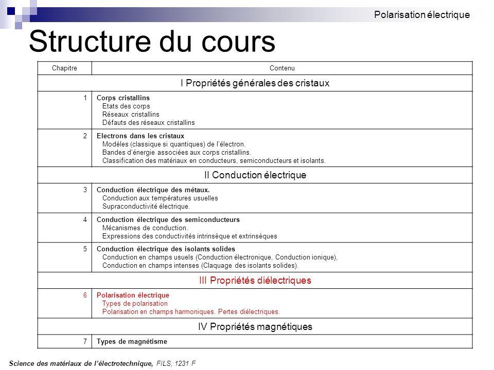 Science des matériaux de lélectrotechnique, FILS, 1231 F Polarisation électrique 6.