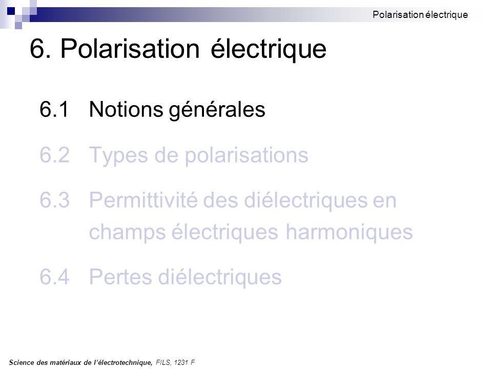 Science des matériaux de lélectrotechnique, FILS, 1231 F Polarisation électrique 6.1Notions générales Polarisation electrique: - lintensité du champ électrique locale (intérieur) - facteur de polarisation Types de polarisation: polarisation de déformation électronique ionique polarisation dorientation polarisation de non-homogénéité (interfaciale)