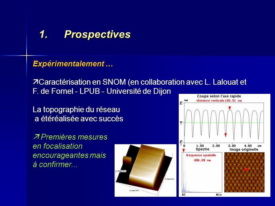 1.Prospectives Expérimentalement … Caractérisation en SNOM (en collaboration avec L. Lalouat et F. de Fornel - LPUB - Université de Dijon La topograph