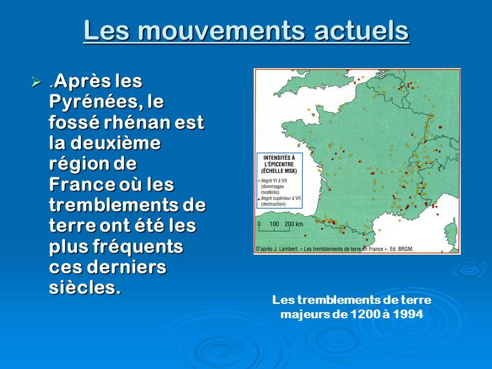 Les mouvements actuels. Après les Pyrénées, le fossé rhénan est la deuxième région de France où les tremblements de terre ont été les plus fréquents c