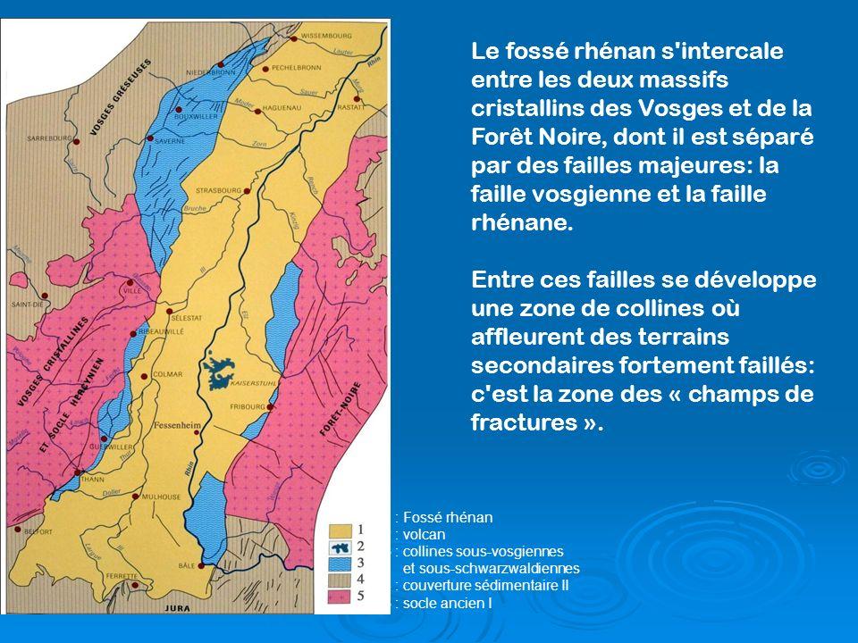 Le fossé rhénan s'intercale entre les deux massifs cristallins des Vosges et de la Forêt Noire, dont il est séparé par des failles majeures: la faille