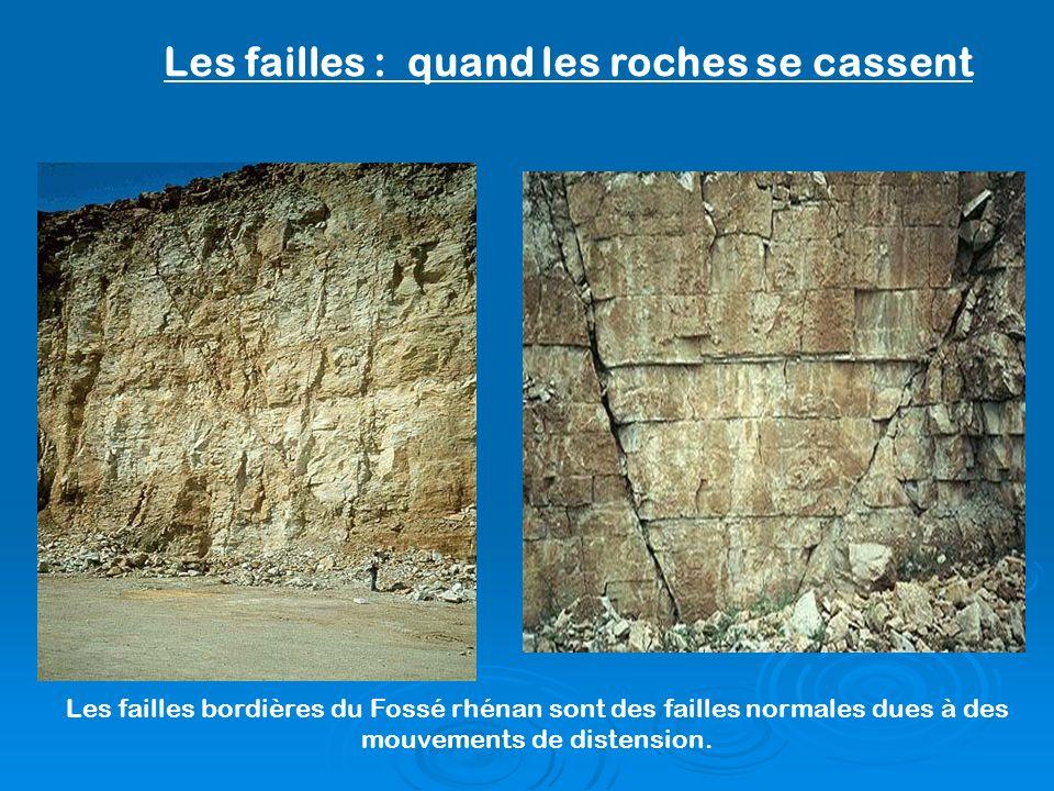 Les failles bordières du Fossé rhénan sont des failles normales dues à des mouvements de distension. Les failles : quand les roches se cassent