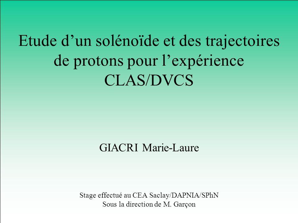 Conclusion et perspectives Nécessité de modifier CLAS Définition du solénoïde Construction commencée pour lexpérience prévue fin 2003 Pas de problème majeur pour la reconstruction des trajectoires de protons Etude à poursuivre avec GEANT