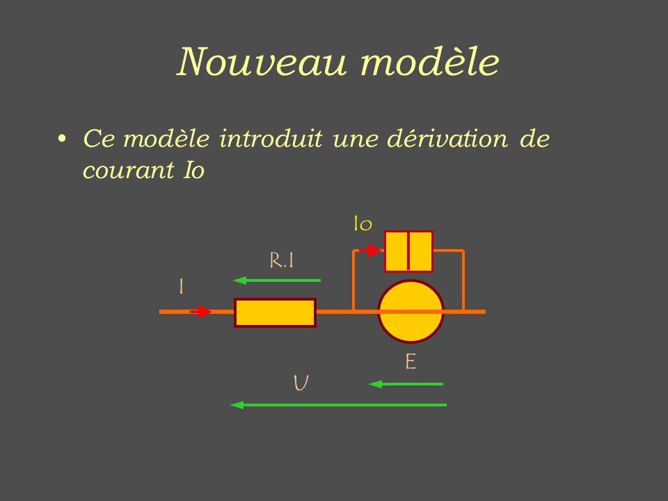 Nouveau modèle Ce modèle introduit une dérivation de courant Io U E R.I I Io