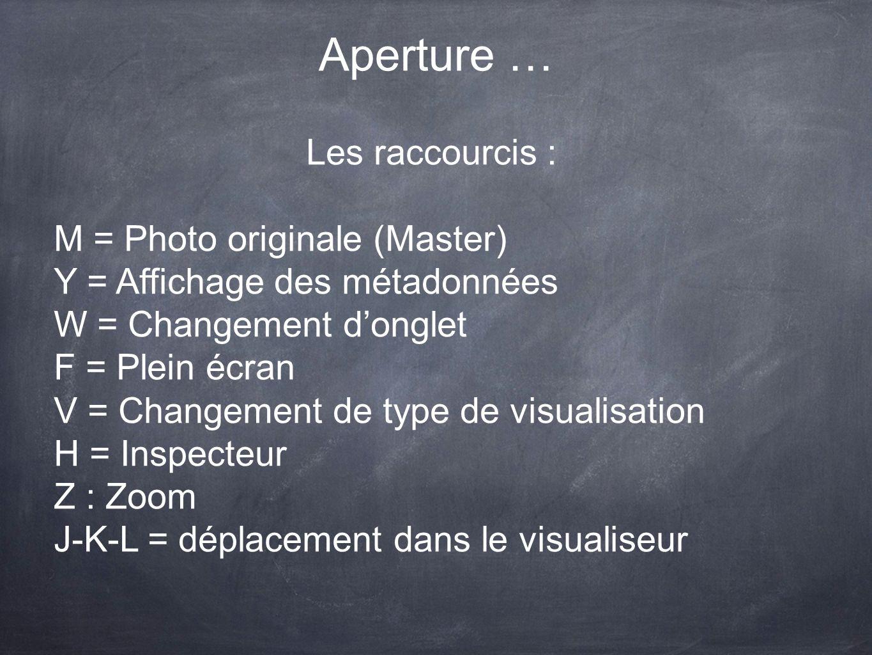 Aperture … Les raccourcis : M = Photo originale (Master) Y = Affichage des métadonnées W = Changement donglet F = Plein écran V = Changement de type d