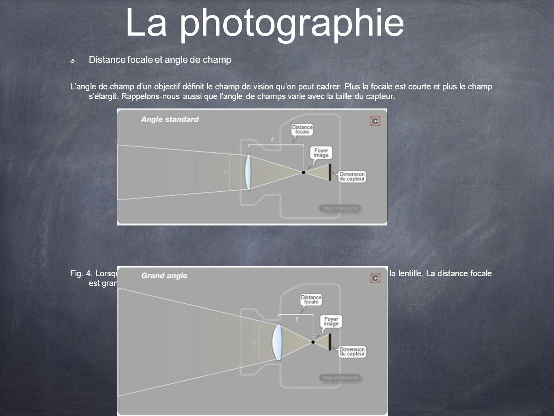 La photographie Distance focale et angle de champ Langle de champ dun objectif définit le champ de vision quon peut cadrer. Plus la focale est courte