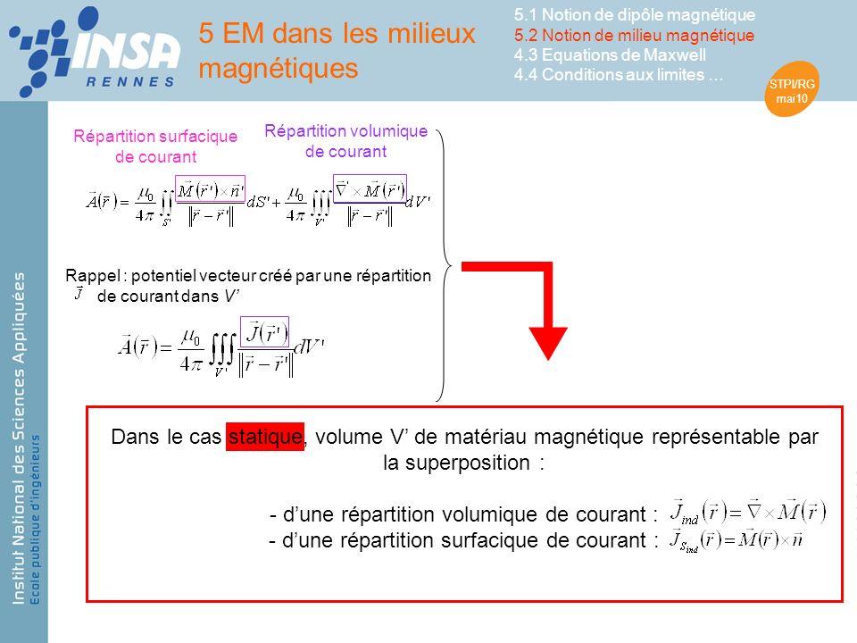 STPI/RG mai10 Rappel : potentiel vecteur créé par une répartition de courant dans V Répartition volumique de courant Répartition surfacique de courant 5 EM dans les milieux magnétiques 5.1 Notion de dipôle magnétique 5.2 Notion de milieu magnétique 4.3 Equations de Maxwell 4.4 Conditions aux limites … Dans le cas statique, volume V de matériau magnétique représentable par la superposition : - dune répartition volumique de courant : - dune répartition surfacique de courant :
