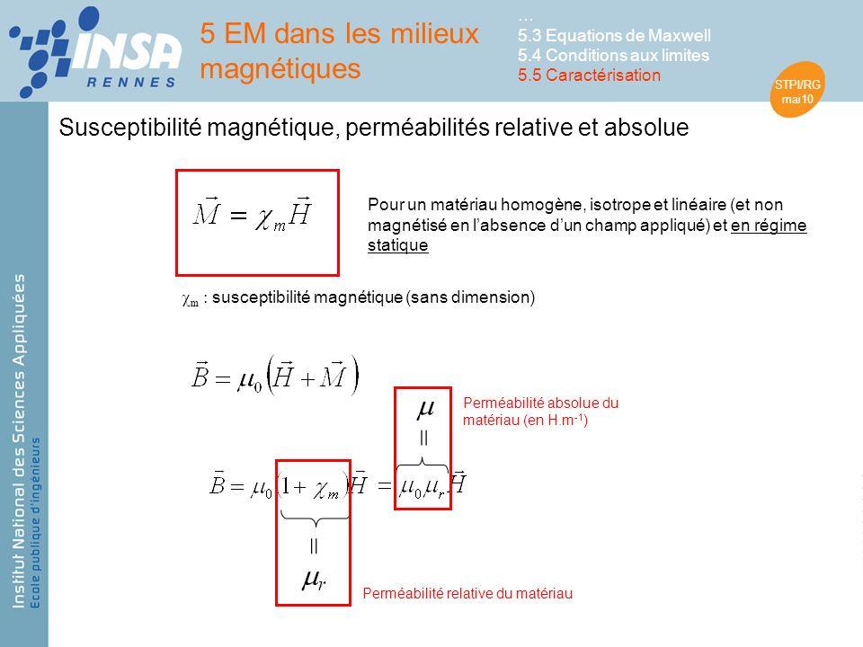 STPI/RG mai10 Susceptibilité magnétique, perméabilités relative et absolue Pour un matériau homogène, isotrope et linéaire (et non magnétisé en labsence dun champ appliqué) et en régime statique = r Perméabilité relative du matériau = Perméabilité absolue du matériau (en H.m -1 ) m : susceptibilité magnétique (sans dimension) 5 EM dans les milieux magnétiques … 5.3 Equations de Maxwell 5.4 Conditions aux limites 5.5 Caractérisation