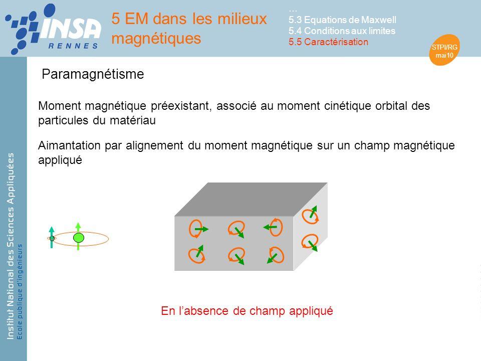STPI/RG mai10 Paramagnétisme Aimantation par alignement du moment magnétique sur un champ magnétique appliqué Moment magnétique préexistant, associé au moment cinétique orbital des particules du matériau En labsence de champ appliqué 5 EM dans les milieux magnétiques … 5.3 Equations de Maxwell 5.4 Conditions aux limites 5.5 Caractérisation
