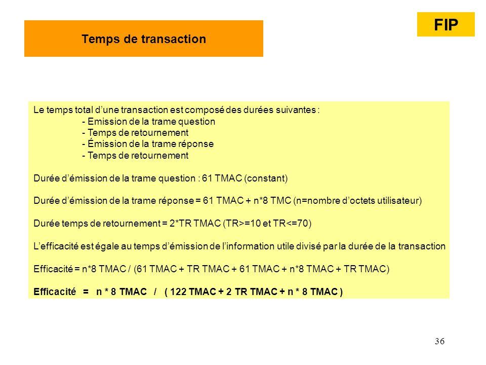 36 Temps de transaction Le temps total dune transaction est composé des durées suivantes : - Emission de la trame question - Temps de retournement - É