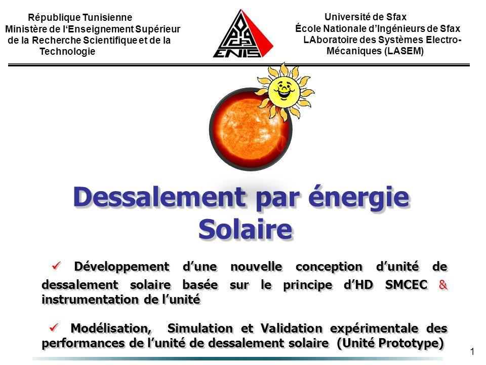1 Université de Sfax École Nationale dIngénieurs de Sfax LAboratoire des Systèmes Electro- Mécaniques (LASEM) République Tunisienne Ministère de lEnse