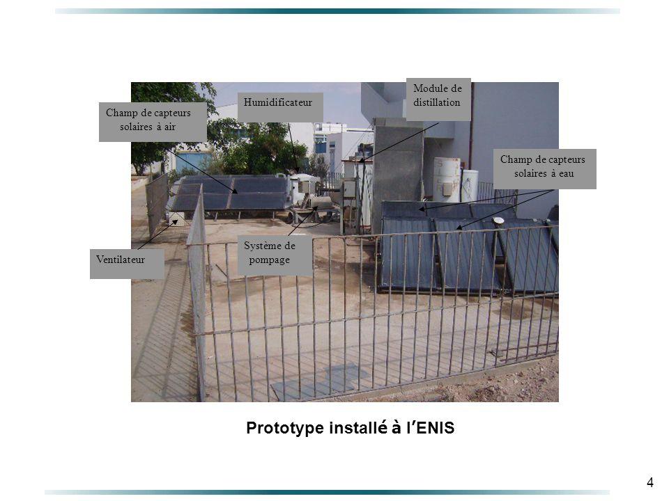 4 Champ de capteurs solaires à eau Module de distillation Humidificateur Champ de capteurs solaires à air Ventilateur Système de pompage Prototype install é à l ENIS