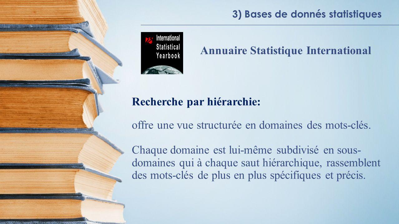 3) Bases de donnés statistiques Annuaire Statistique International Recherche par hiérarchie: offre une vue structurée en domaines des mots-clés. Chaqu